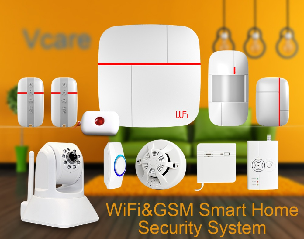 Free dhl 2015 top rated wifi gsm wireless smart alarm for Smart home alarm system
