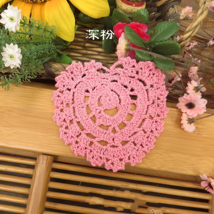6 pcs/lot Many colors 100% Cotton Handmade Crochet Heart Coaster Doily eco friendly crocheted cotton placemat(China (Mainland))