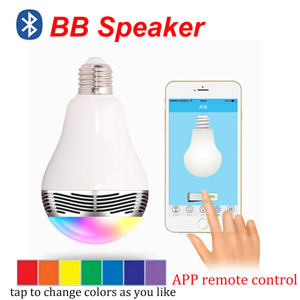 Smart LED Bulb Speaker BTV4.0 Music Play APP Remote Control A2DP Stereo Sound Time On Off Changeable LED Lights for Xiaomi Hot(China (Mainland))