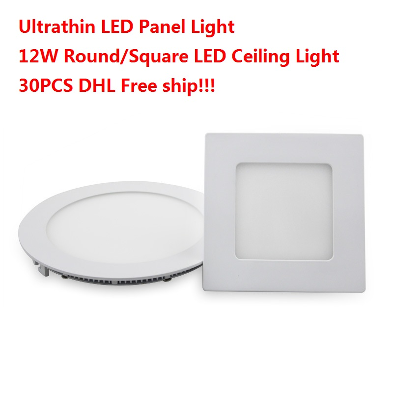 Ultrathin LED Panel Light Spot Down Light + Drivers 12W Round/Square LED Ceiling Light Recessed DHL FREE(China (Mainland))