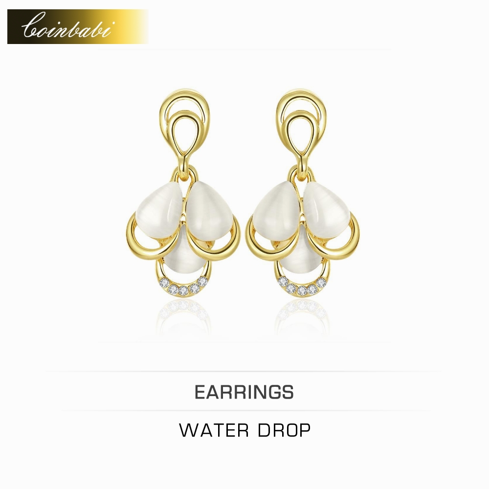 Water Drop Earrings,Bohemia Gold Plated & Rhinestone Gift Accessories For Women Girls,Europe And The United States Hot Water Lad(China (Mainland))
