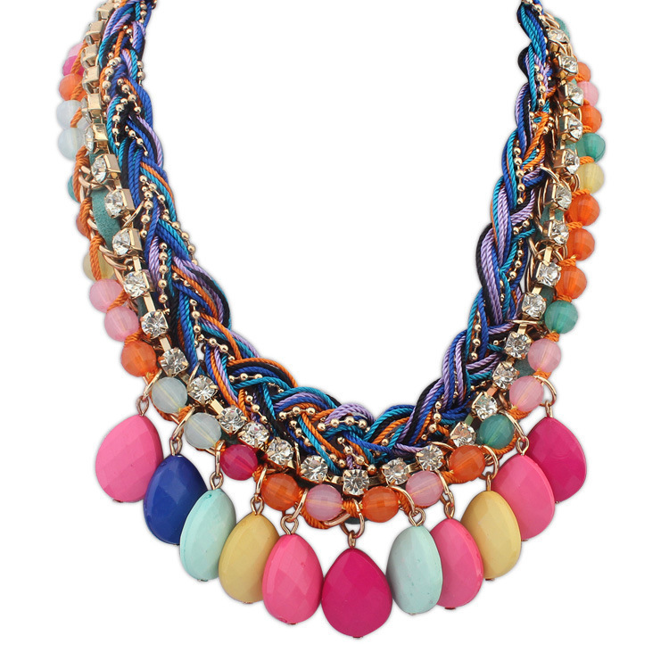 2015 new summer European and American fashion girl necklace, hand-woven Bohemia crystal statement necklace pendant for women(China (Mainland))
