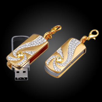 2015 New Golden Crystal Pendrive Jewelry Usb Flash Drive 32gb 16gb 8gb Fine Gifts Usb Memory Stick stick beautiful Disk on key(China (Mainland))