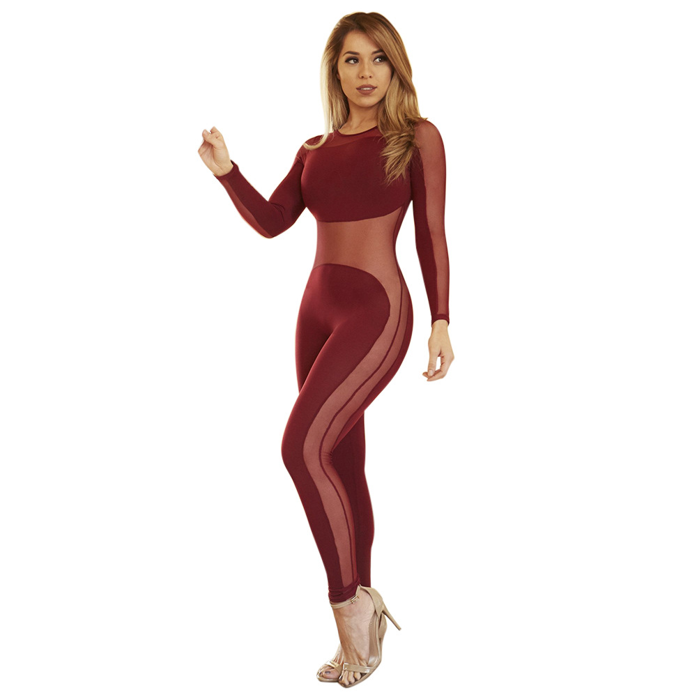 Slim Tight Mesh Patchwork Women Jumpsuit Rompers Sheer Sexy Club Bodysuit Overalls For Women Plus Size Summer Long Jumpsuits(China (Mainland))
