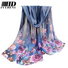 160*50cm Printed Rose Women Soft Chiffon Scarf 2016 Designer Scarf Chiffon Hijab Shawl Swimming Summer Beach Cover Up Warp(China (Mainland))