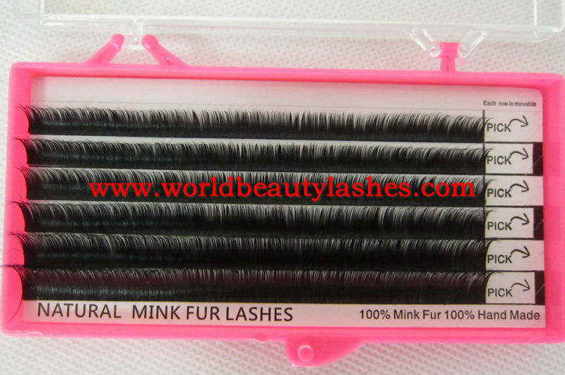 new products fashion natural looking 100% siberian mink fur eyelash extensions 6lines per tray 8-15mm B C D J curl free shipping<br><br>Aliexpress