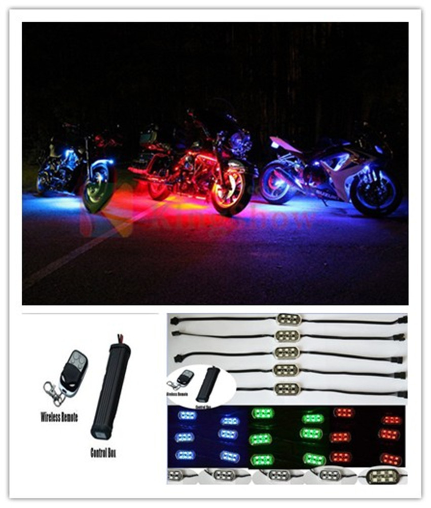 6PODS 36LED Custom Motorcycle LED Neon Accent Light Pod Kit Multi Color(China (Mainland))