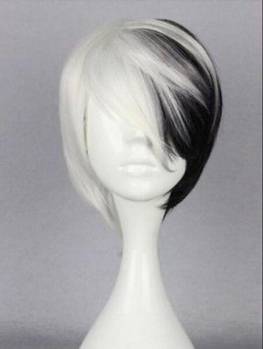 RH0630 free shipping Half Black Half White Short Wig Anime Cosplay<br><br>Aliexpress