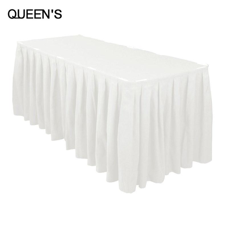 Buy white polyester wedding table skirt for Table skirting