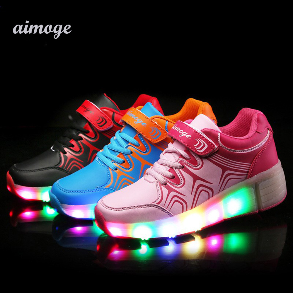 Children shoe Roller Shoes Led Flashing Lights Kids Skate Sneakers Wheels Boys Girls Zapatillas Con Ruedas  -  Your Brand Style store