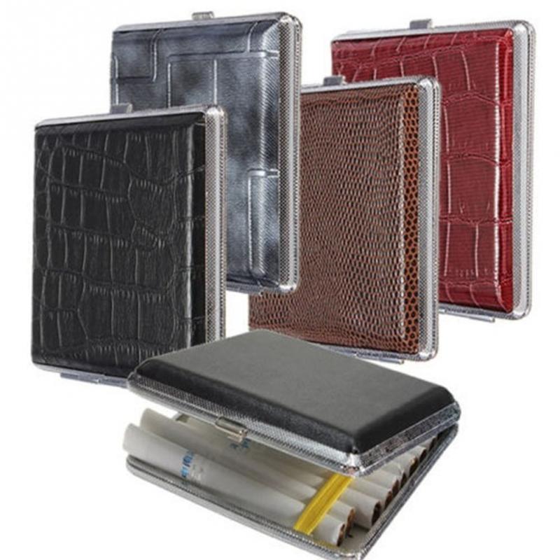 1 Pc PU Leather Cigarette Tobacco Pocket Box Storage Case Holder Wallet 20pcs cigarettes cases(China (Mainland))
