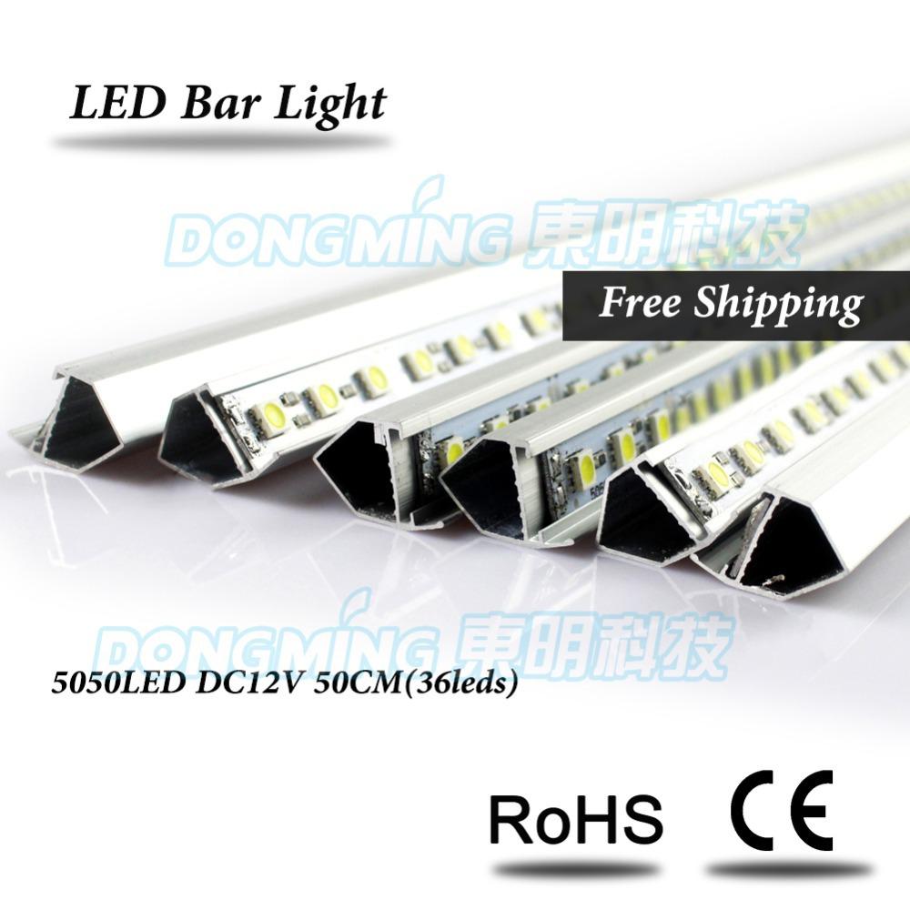 Aluminium U/V Profile 0.5M LED rigid strip 5050 SMD 36Leds 12V LED Bar Light for kitchen cabinet closet Warm White/White(China (Mainland))