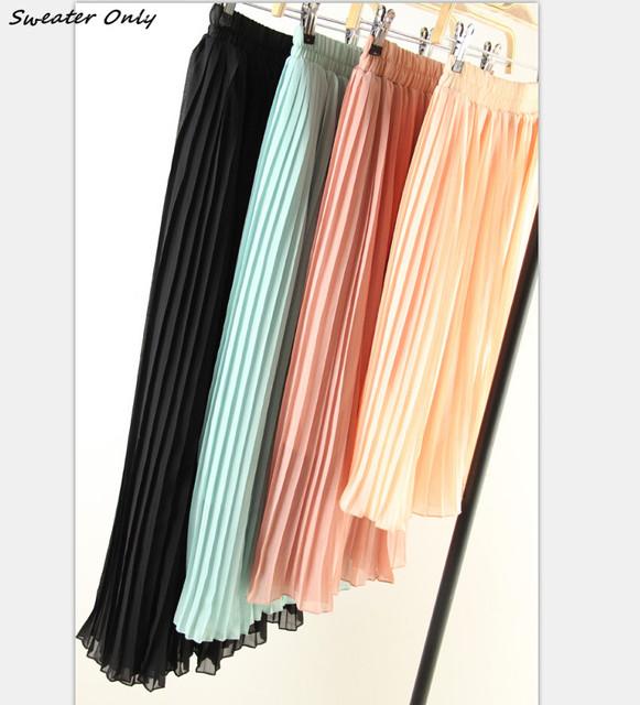 2016 новый горячий продажа женская весна лето чешские шифон плиссированные бюст юбки женщина случайные пляж юбка 7 цветов