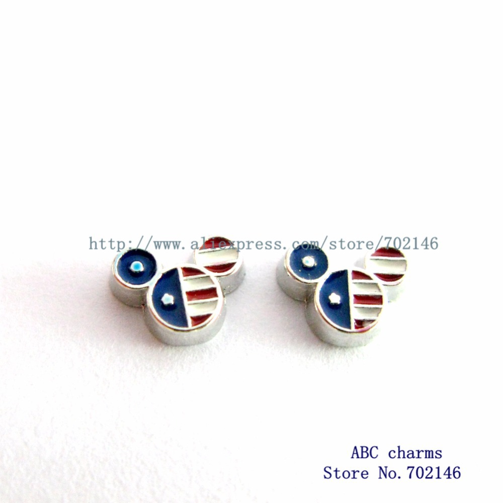 Free shipping Hot sell wholesale 50pcs USA mouse FC834 Fashionable Charms Fit Living Memory Photo locket with glass(China (Mainland))