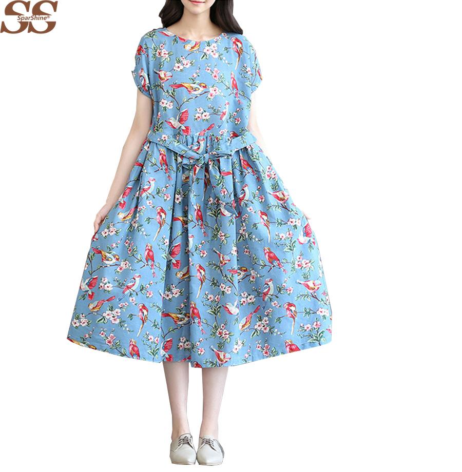 2016 лето осень мода женская одежда повседневная свободные хлопок платье белый синий лен птицы цветочные печатные старинные платья женские