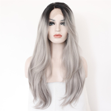 Synthetic Lace Front Wig sexy Black T Grey Hand Tied Glueless high density Heat Resistant fiber perruque front lace party wig(China (Mainland))