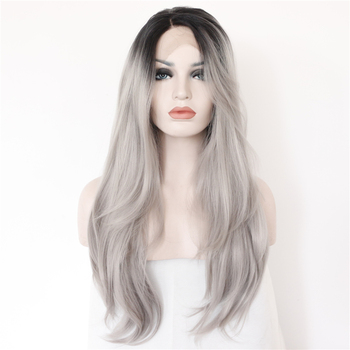 Synthetic Lace Front Full Wigs Fashionable the sexy Black T Grey color Hand Tied Glueless Futura Heat Resistant fiber wig