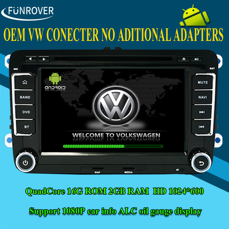 """FREE SHIPPING VW/Jetta/Skoda/Seat Double Din In Dash Car DVD Player 7"""" Quad Core 1.6Ghz 16G 1024*600 Android 4.4 ISO plug RADIO(China (Mainland))"""