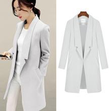 2016 Autumn Winter New Women Korean Woolen Coat Fashion Slim Medium long Sections Big yards Pure color Woolen Coat Female G0398