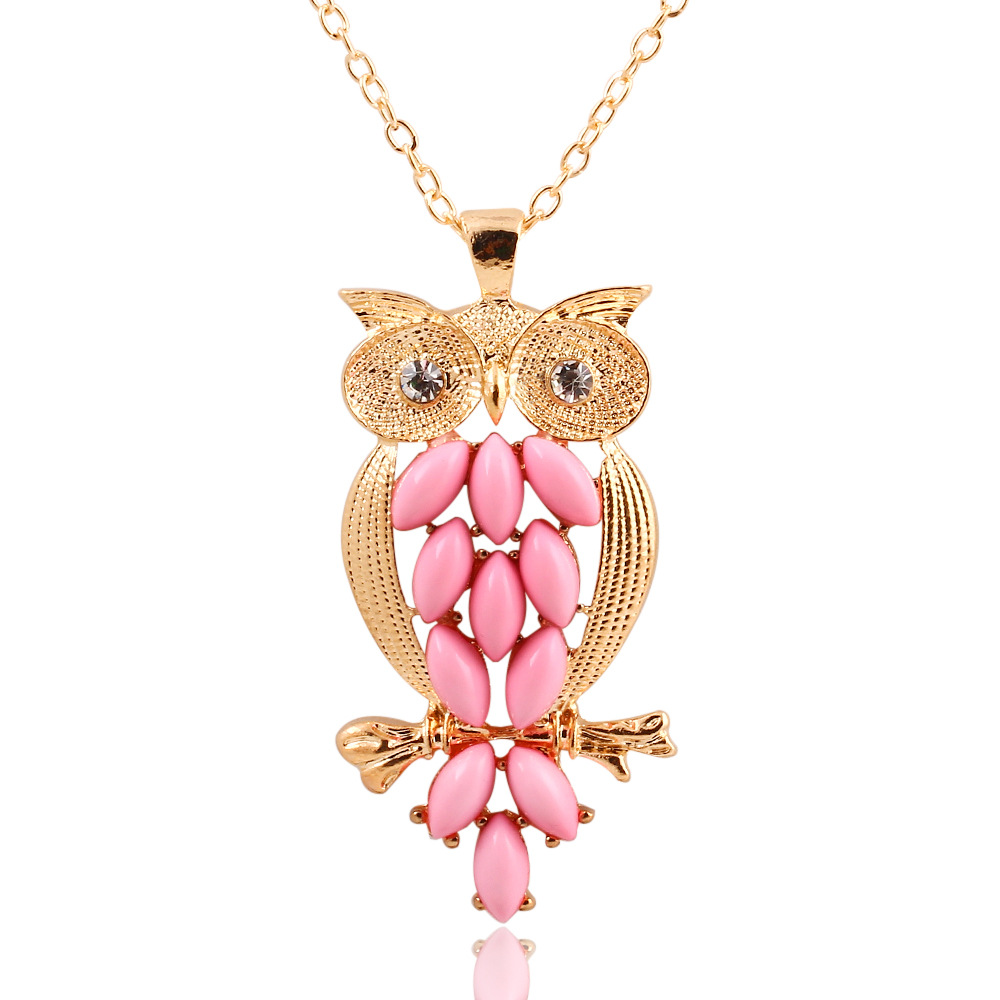 2015 New Fashionable Stylish Gold Leaves Owl Charm Chain Long ...