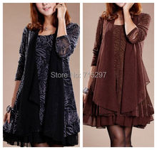 2014 elegant big size clothing  autumn and winter one-piece dress big size loose winter dress fashion female dress XXXL S596(China (Mainland))