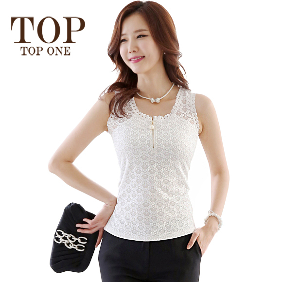 New Korean Style Womens Tops Fashion 2015 Sleeveless White Lace Blouses Women Summer Shirts Casual Blusas De Renda Femininas(China (Mainland))