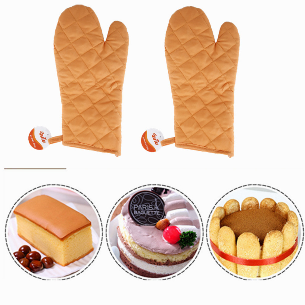 OUTU 12.5'' Heat Resistant Quilted Lining Kitchen Oven Mitt Gloves Durable Cotton Glove for Kitchen Baking BBQ Oven Pot Holder(China (Mainland))