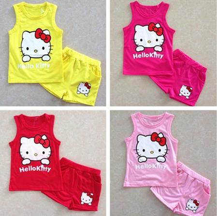2015 Hot Summer girls' suits Hello kitty KT Cat cartoon baby suit short-sleeved T-shirt + shorts Set girls baby kids child cloth(China (Mainland))