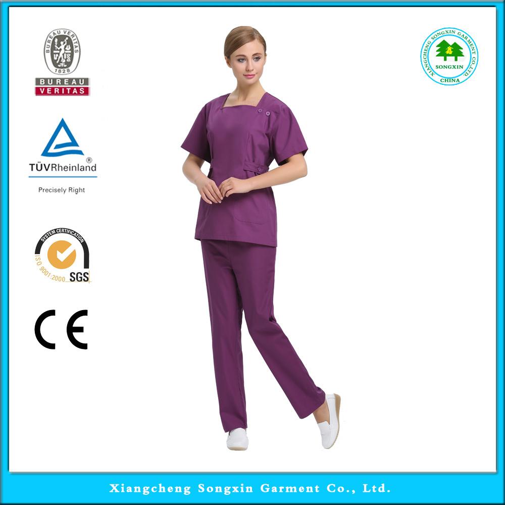 2015 OEM hospital square collar medical scrub sets dental clinic nurse uniform(China (Mainland))