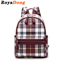 School Bags For Teenagers Plaid Backpack Women Bag School Girls Leather Backpack Preppy Black  Escolar Rucksack Mochila Satchel(China (Mainland))