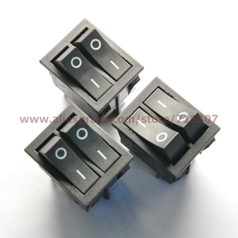 Free shipping 5pcs/lot 6 Pin 15A 250V Black Button Double Rocker Switch KCD8-212N KCD2 Rocker Power Switches(China (Mainland))