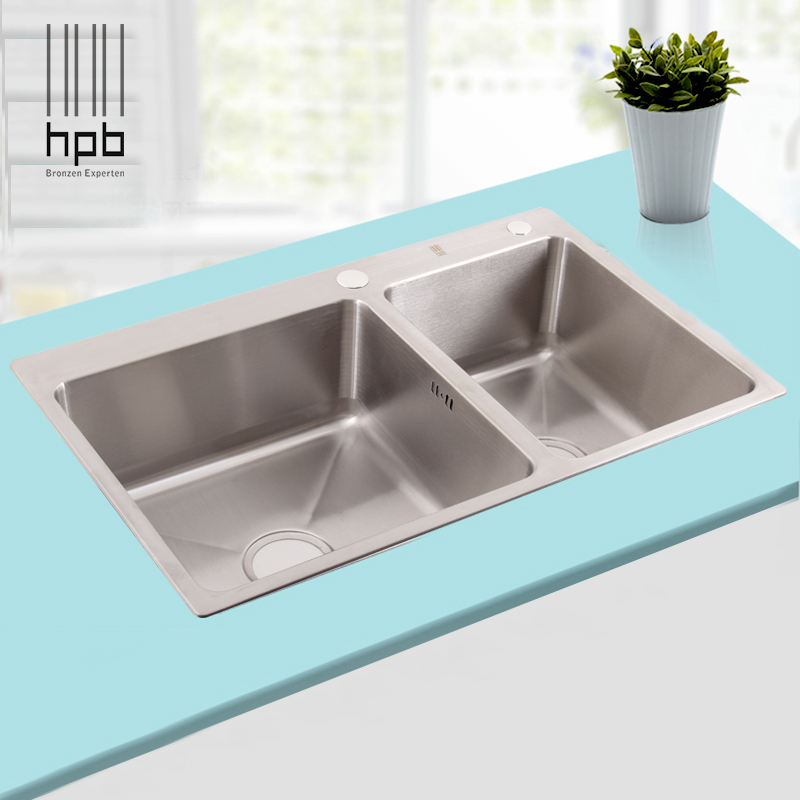Hpb german kitchen 304 stainless steel double bowel for German kitchen sinks