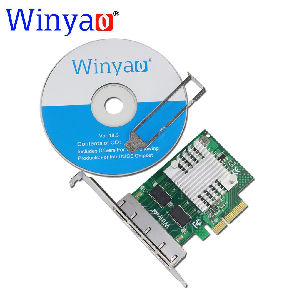Winyao WY1000T4 PCI-E X4 Quad Port 10/100/1000Mbps Gigabit Ethernet Network Card Server Adapter LAN intel I350-T4 NIC(China (Mainland))