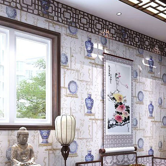 Modern new mural chinese character calligraphy promotion for Blue and white bedroom wallpaper