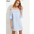 Ziker Brand Cotton Slash Neck Dresses Women Striped Loose Casual Dress Sexy Party Mini A Line