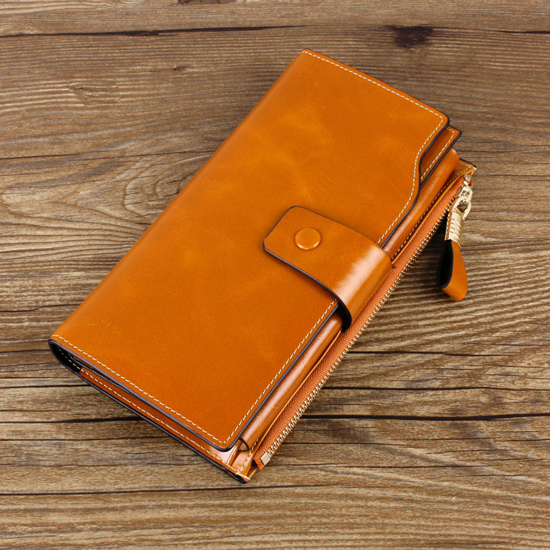Hot Sale High Quality Real Leather Women Wallets Lady Purse Bags Calder Holder Oil Wax Head Layer Cowhide Wallet Female Purse(China (Mainland))