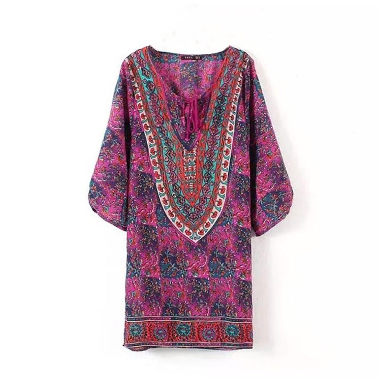 Vintage Style Women Chiffon V-Neck 3/4 Sleeve Print Casual Loose Mini Shift Dress(China (Mainland))