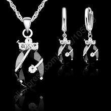 Neue Blume Wasser Tropfen Heißes 925 Sterling Silber Schmuck Sets Kubikzironia Anhänger Halskette Ohrringe Schmuck Sammlung(China)