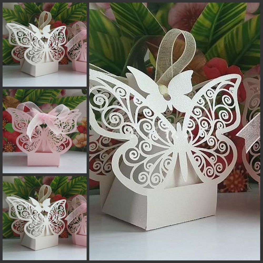 New Wedding Favor Ideas 2015 : 2015 New Wedding Favor Butterfly Laser Cut Wedding candy boxes Gift ...