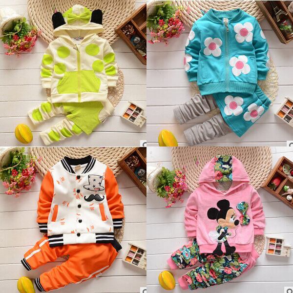 Recem Nascido Dress New Autumn Baby Girls Cotton Hooded Suit Fashion Flora Mickey Ziper Kids Boys Clothing Set C25 - Sean Children Clothes store