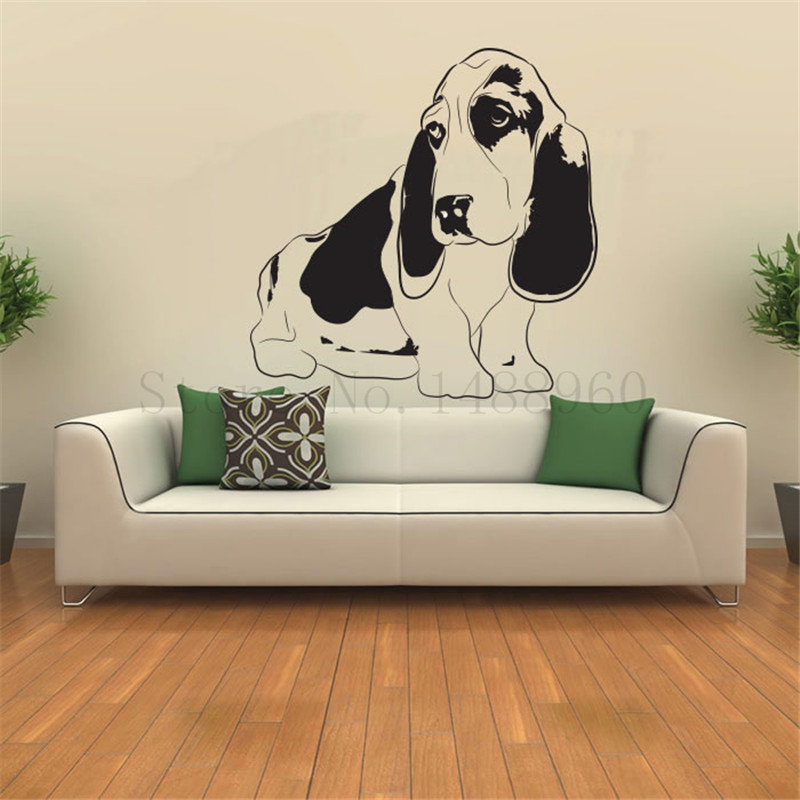 E666 Wall Stickers Home decor DIY poster Vinyl Art Mural Animal Basset Hound Pets cute dog for kids room(China (Mainland))