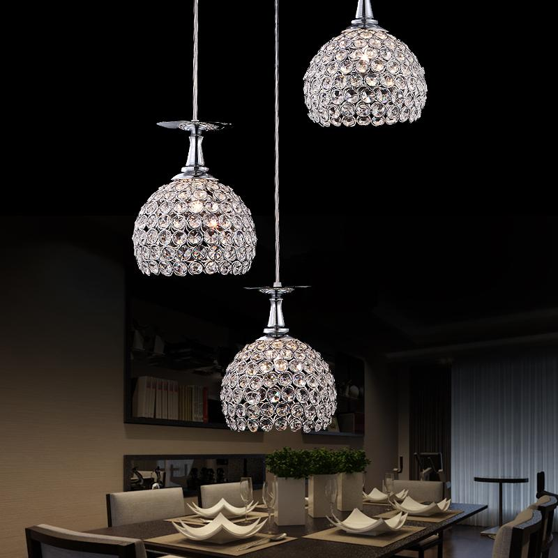 Фотография Contemporary and contracted three creative crystal droplight of led lamps and lanterns of droplight restaurant bar