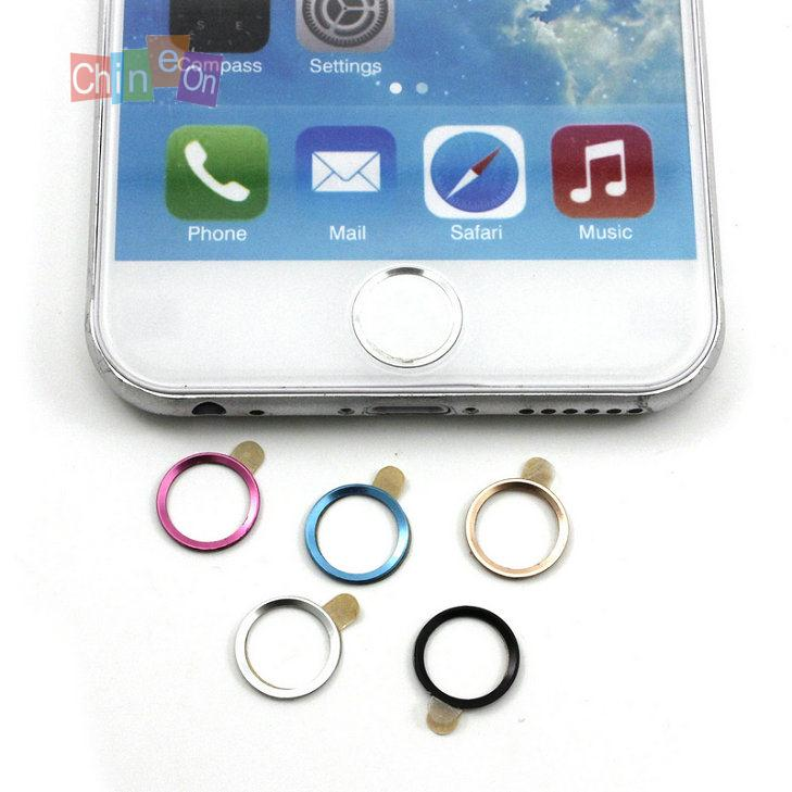 2PCs/Lot Aluminium Metal Round Touch ID Button Stickers Decals for iPhone 6(China (Mainland))