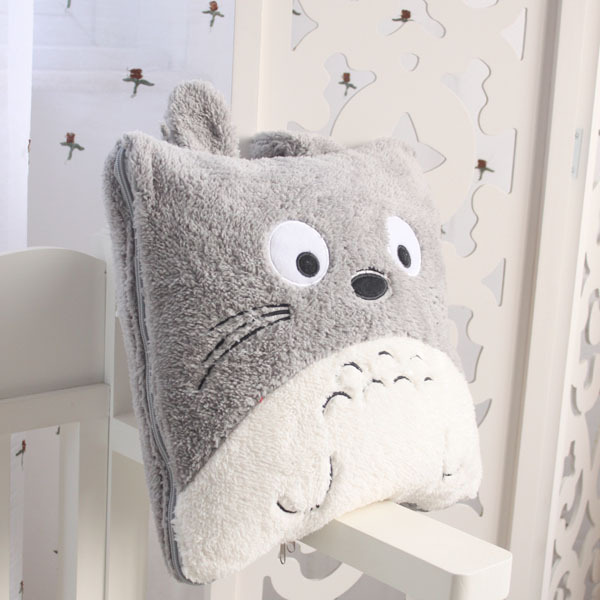 Super cute 145cm special anime funny totoro air condition nap plush blanket cushion toy novelty birthday gift 1 pc(China (Mainland))