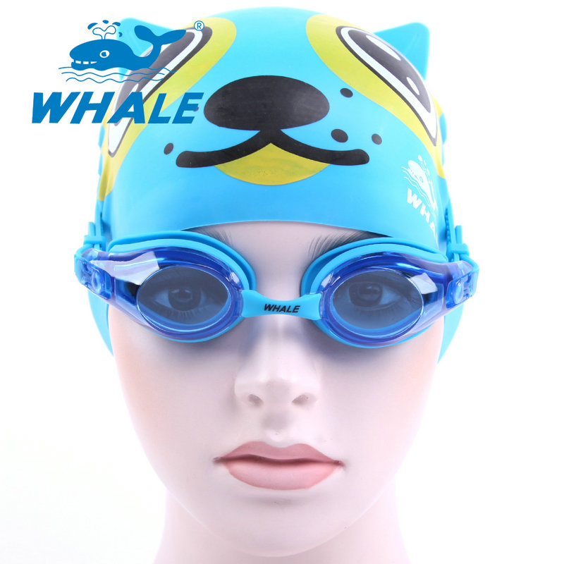 Whale Brand Child Waterproof Anti Fog Kids cool silicone Swim Glasses Eye-wear Swimming goggles and swim cap for boys and girls(China (Mainland))