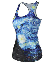The starry sky hot sale summer series new digital printing of famous abstract painting pattern tank tops XJ231(China (Mainland))
