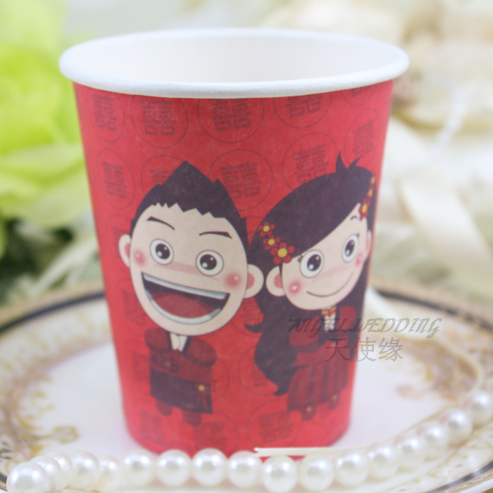 Free shipping 100pcs/lot Wedding supplies disposable cup of marriage western cartoon paper cup(China (Mainland))