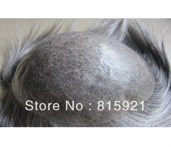 Popular Natural Hairline Gray Hair Injected Super Thin Skin Toupee Men - EJS Shop store