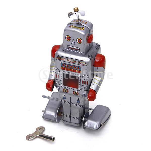 Free Shipping Wind Up Robot Toy Collectible Gift w/ Key Silver Grey(China (Mainland))