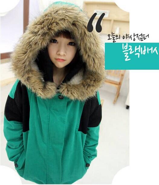 Азиатский милые девушки студенты пальто толстый хлопок 2015 зима зеленый теплый овечьей шерсти пальто женщин теплые куртки оптовая продажа